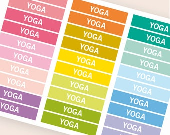 Yoga Heading stickers, planner header stickers, planner stickers, agenda notebook journal stickers, reminder fitness meditation