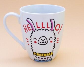 "Ceramic mug hand decorated ""Helllo!"" - Coffe/tea mug with a lama, coffee cup, tea cup, unique mugs, funny gift."