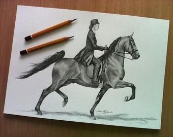 Saddleseat. Horse. Original pencil drawing. Size A4, Free worldwide shipping.
