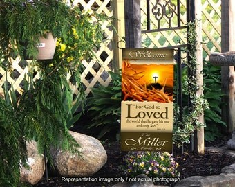 God so Loved / Personialized Yard Banner (G2315-1)