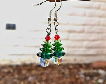 Oh, Christmas Tree - Swarovski Crystal Holiday Earrings
