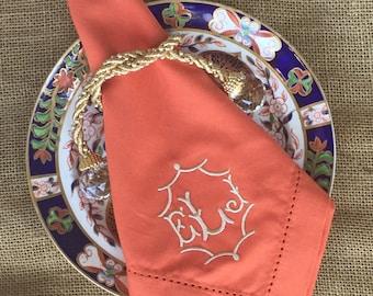 Monogrammed Linen Like Dinner Napkins - 100% Cotton Hemstitched - 20x20 inches - Gift Wedding Shower Hostess - Paprika Orange Other Colors