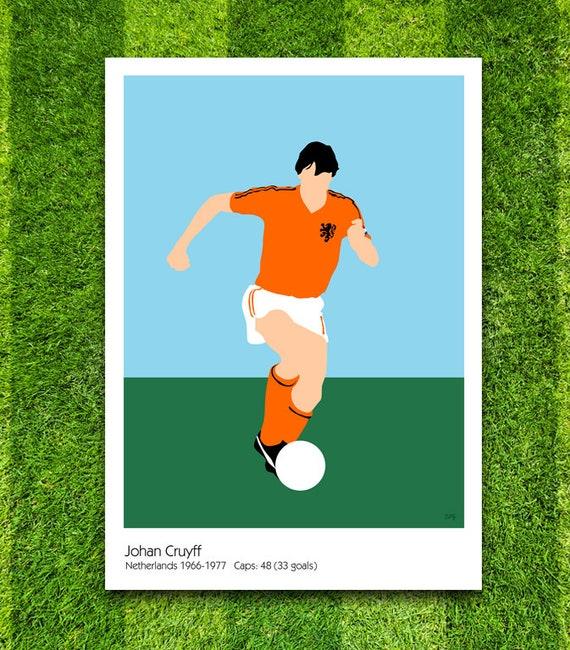 Johan Cruyff // Netherlands // Football // Soccer // Minimalist Poster // Unique A4 / A3 Art Print