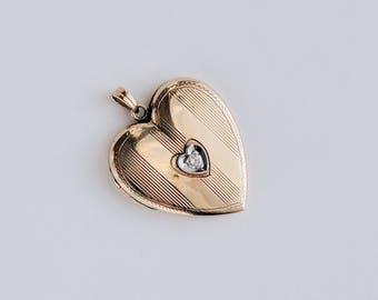 1930s Gold and Diamond Vintage Heart Locket
