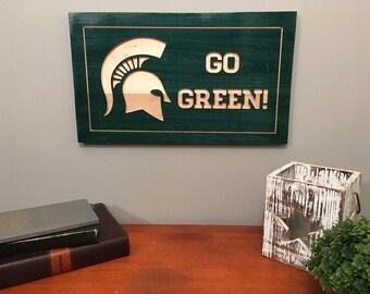 Michigan State Sign-Michigan State University-Spartans-Michigan State Carved Sign-Wooden Sign-Stained