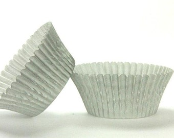 50pc Solid Silver Color Standard Size Cupcake Baking Cups Liners Wrappers