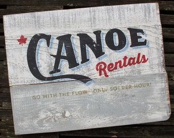 Vintage Canoe Rentals Art Board
