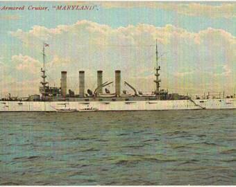 Vintage Postcard, U.S. Armored Cruiser Maryland, ca 1906