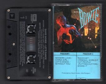 Vintage Cassette Tape : Cassette Tape - David Bowie - Let's Dance - EMI - 4X0-517093
