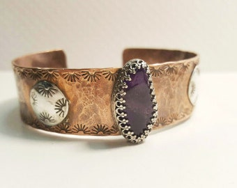 Copper & Sterling Cuff  Mixed Metals Cuff Bracelet Amethyst Bracelet Silver and Copper Jewelry