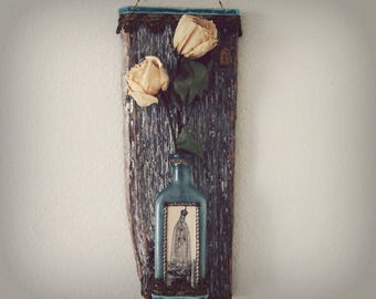 Our Lady of Fatima Rustic Mixed Media Vintage Catholic Decor and Gifts