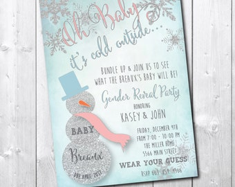 Winter Gender Reveal Invitation/DIGITAL FILE/printable/wording can be changed/little snowflake, shower, silver, glitter, party, baby