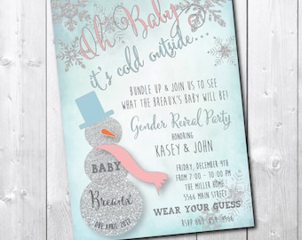 Winter Gender Reveal Invitation/DIGITAL FILE/printable/wording can be changed/snowflake, shower, silver, glitter, party, baby