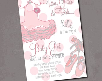 Baby Girl Shower Invitation printable/tutu, silver, pink and gray, glitter, tutu excited, pink, dance/Digital File/wording can be changed