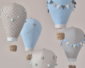 Hot air balloon baby mobile Sky Blue, Grey, White  Nursery decor,Travel theme,Custom mobile, Create mobile in your color