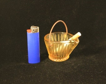 Ashtray Vintage Amber Glass Coal Bucket Federal Glass
