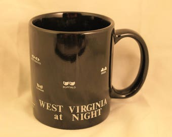 "Vintage West Virginia ""At Night"" Coffee Mug Tea Cup Travel Souvenir Spooky Animal Eyes Gift"