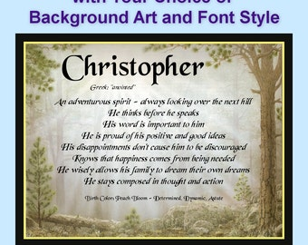 Personalized First Name Meaning and Personality Traits Scenic Art Prints with Custom Font and  Background Choices Mountains FREE SHIP USA