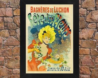 AP34 Framed Vintage 1890 Fete Des Fleurs Flower Festival Jules Cheret French Advertisement Poster Re-Print Wall Art Deco A3/A4