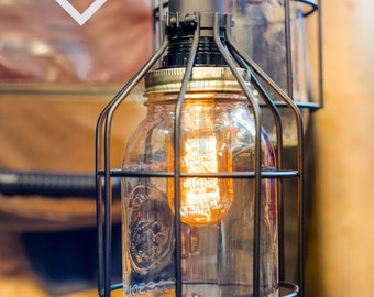 Mason Jar with cage chandelier light vintage Industrial, Antique Edison Bulb, Mason Jar Lamp, Rustic Lighting