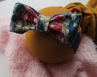 Flower bow newborn headband , Newborn photo prop, RTS