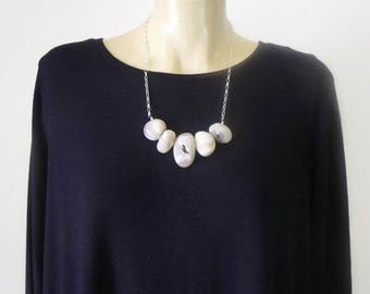Organic Clay & Sterling Silver Pebble Necklace (no. 4)