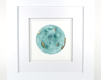 Watercolor Moon Painting, Turquoise with gold leaf, Framed 5x7, blue moon/planet, nursery art, lunar art, space art, full moon/white frame