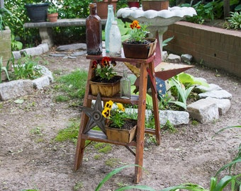 Small Antique Wooden Ladder with Patina, Great Plant Stand! , Primitive Decor, Rustic Home Decor, Planter Stand, Flower Pot Holder
