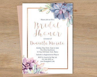 Succulent Bridal Shower Invitation / Greenery and Rose Gold Geometric / Cactus and Copper Calligraphy ▷ Printed Heavy Paper {or} Printable