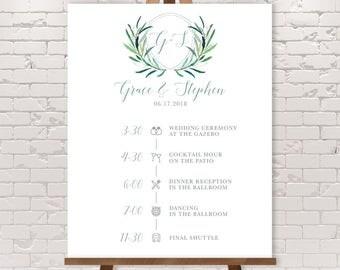 Wedding Timeline Sign / Wedding Itinerary Agenda, Icons / Eucalyptus Crest / Initial Monogram Crest ▷ Printable File {or} Printed & Shipped
