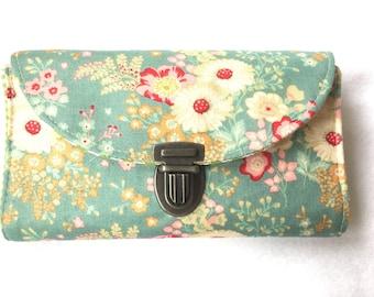 Purse MIDI romantic bouquet grey blue