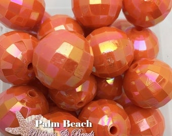 Ten (10) pcs Chunky 20mm Bubblegum Acrylic AB Orange Faceted Disco Ball  Beads -10pcs