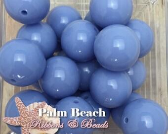Ten (10) pc Chunky 20mm Bubblegum Acrylic Solid Beads PERIWINKLE BLUE-10pcs