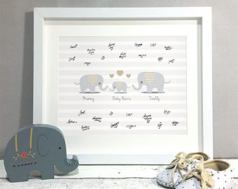 Elephant Family Baby Shower Guest Book Alternative, Personalised Christening Guest Print, Baby Shower Decoration, Girl Boy Stripe (unframed)