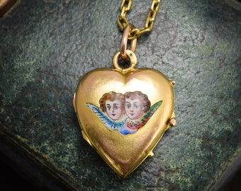 """Antique Victorian Enamelled """"Winged Cherub"""" Heart Locket in 15ct Gold with Chain, c1880"""