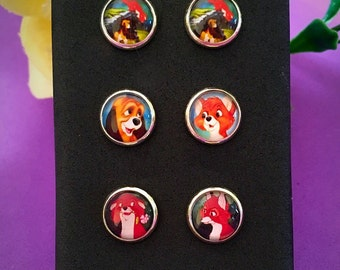 Disney The Fox And The Hound Stud Earrings Set of 3 pairs. 10mm Diameter. Valentines Gift