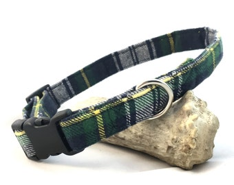 Green Plaid Dog Collars/Tartan dog collar/Boy Dog Collar/St. Patrick's Day Dog Collar/Girl Dog Collar/Trendy Dog Collar/Flannel Dog Collar