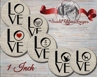 LOVE Burlap bottle cap images  1 inch circles - Set of 15 - hand prints, cats,dogs, hearts - 600dpi, cupcake toppers, Gift Tags, BottleCaps