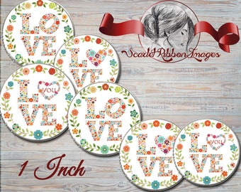 Floral Love Bottle cap images 1 inch circles - digital collage sheet - bottle cap images, buttons, tags, scrapbooking, cupcake toppers