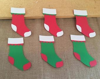 Christmas Stocking Die Cut set of 6,