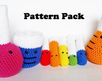 PATTERN Amigurumi Crochet Soft Science Toy Pattern Pack- 4 Patterns
