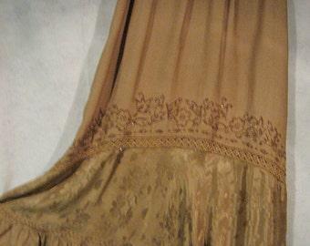 Gypsy Skirt, Beaded Gold Skirt,  Beaded Hippie Skirt, Beaded Boho Skirt, Bohemian Skirt, Gold Skirt, Gift for Her