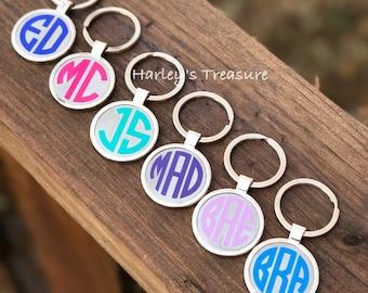 Monogram Keychain, Personalized Keychain, Silver Disc Key fob, Custom Gift, Bridesmaid Gift