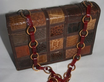 Leather, snake skin purse, Balmain, Made in Mexico