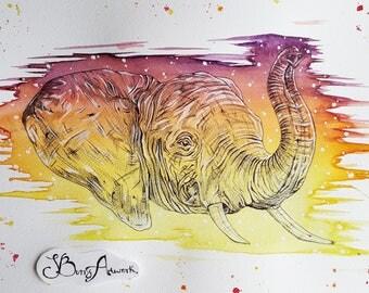 Elephant, elephant art, elephant decor, elephant gifts, elephant painting, sunset art, nursery decor, elephant print, rainbow wall art, art