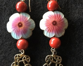 Vintage Guilloche Enamel Dangling Asian Floral Pierced Earrings