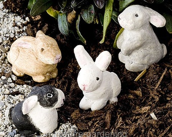 Herd of Bunnies, Set of 4 for Miniature Garden, Fairy Garden