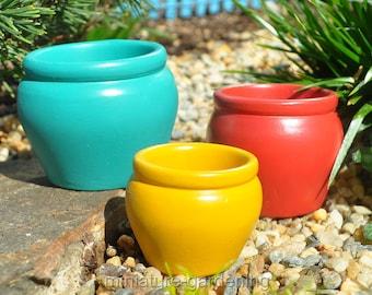 Bright Flower Pots, 3 Piece Set for Miniature Garden, Fairy Garden