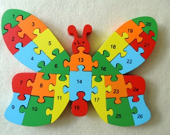 Double-Sided Wooden Puzzle in Box, Butterfly, Educational Toy, Waldorf Inspired, Wooden Alphabet Numbers Colour, Wooden Toy, Montessori Toy