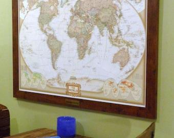 Framed Push Pin World Map